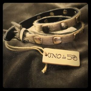 Uno de 50 leather fur metal wrap bracelet NWT